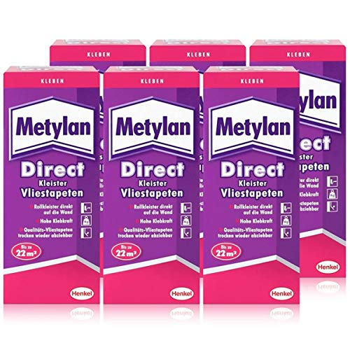Henkel Metylan Direct Tapetenkleister für Vlies-Tapeten 200g (6er Pack)