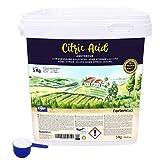 NortemBio Zitronensäure 5 Kg. Wasserfreies Citronensäure Pulver, 100% Reine. Für Ökologischen...