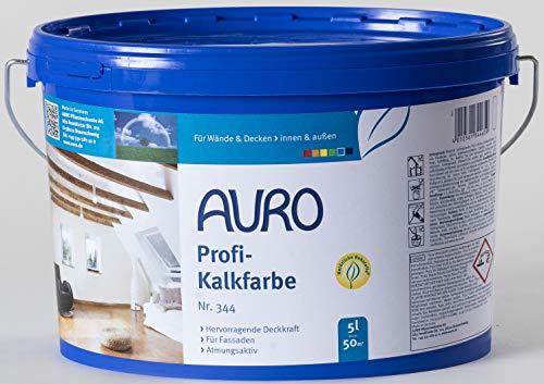 AURO Profi-Kalkfarbe Nr. 344 - 5 Liter dampfdiffusionsoffen, Vorbeugung gegen Schimmelbefall,...