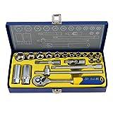 S&R Steckschlüsselsatz 20-tlg. 3/8' Lock-Drive Profil CHROM-VANADIUM in Metallbox, Stecknüsse für...