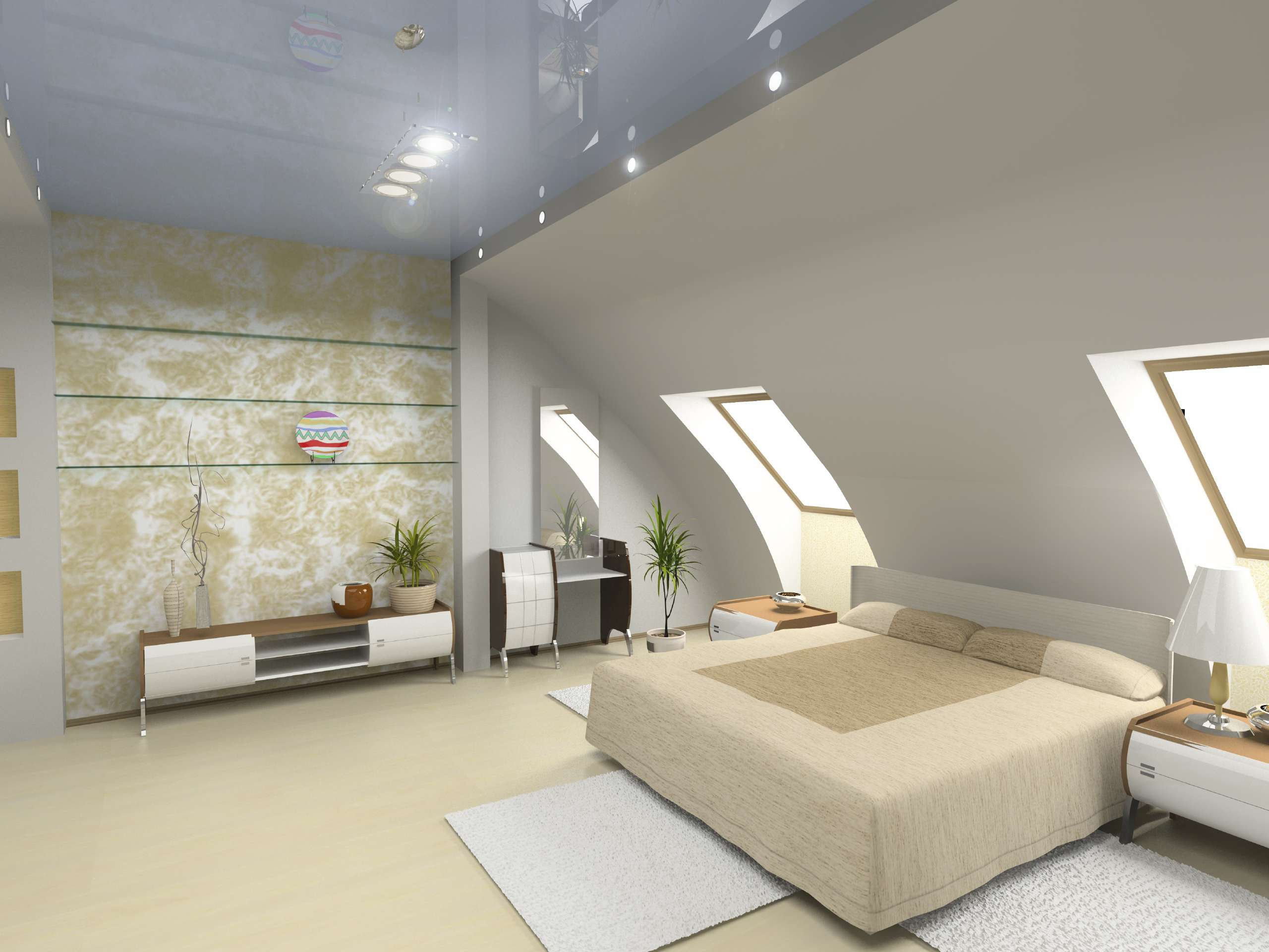 Bett in einem Schlafzimmer mit Dachschräge platzieren