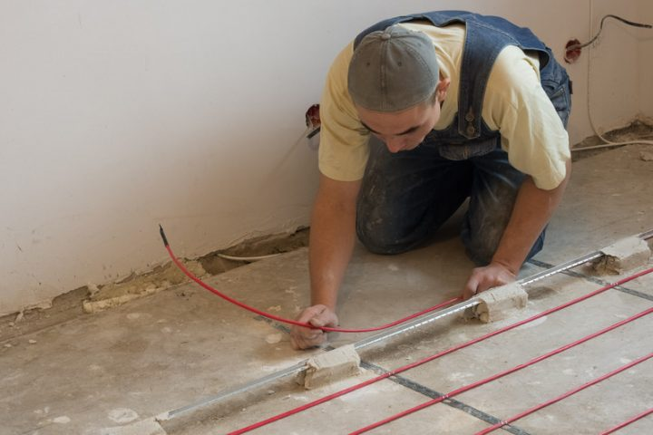 Korkboden-Fußbodenheizung